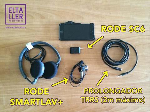 Micrófono de corbata para móvil Smarlav+ conectado a través de un Rode SC6 para hacer vídeos con móviles
