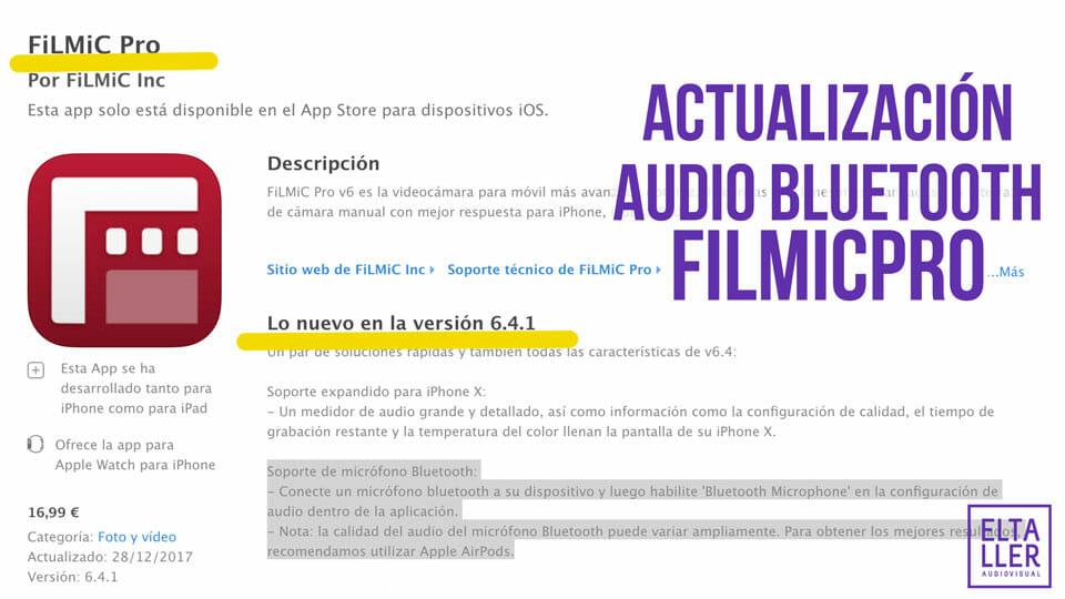 Ya puedes grabar audio bluetooth con FilmicPro en iOS