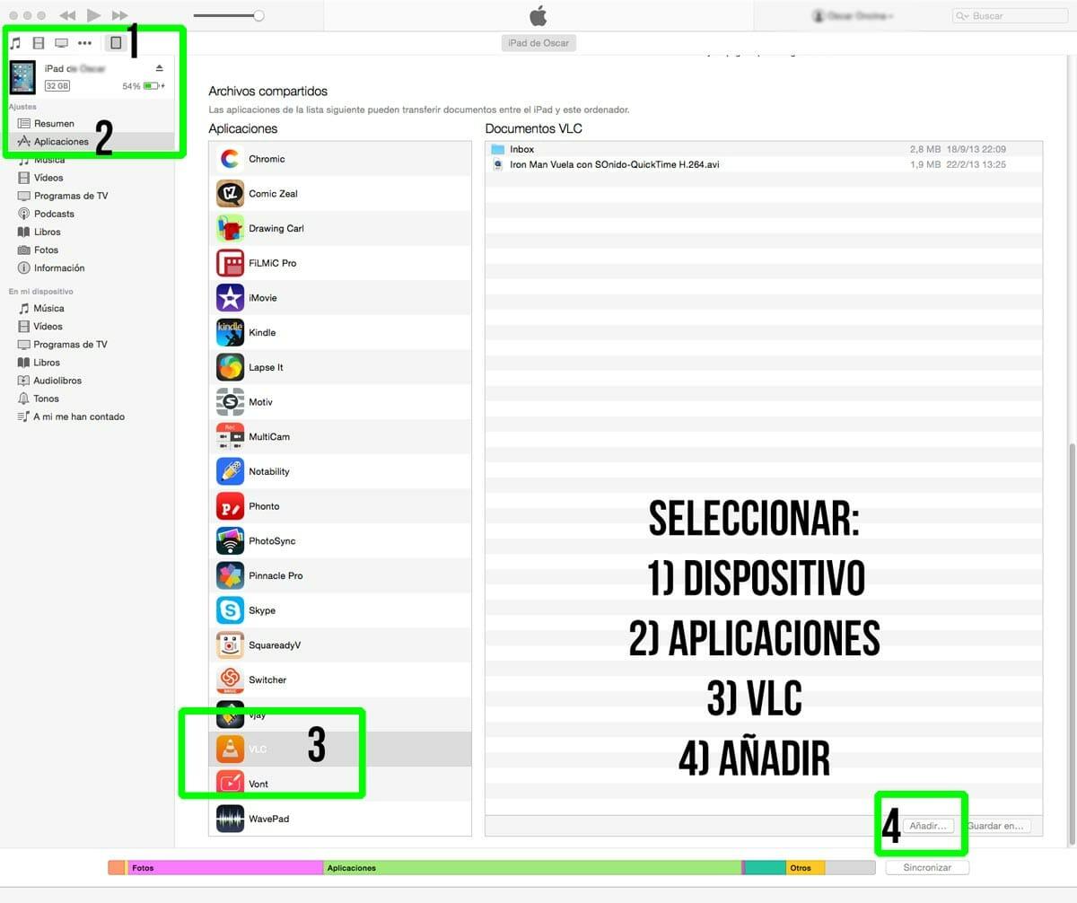 Ventana de sincronización de iTunes con VLC