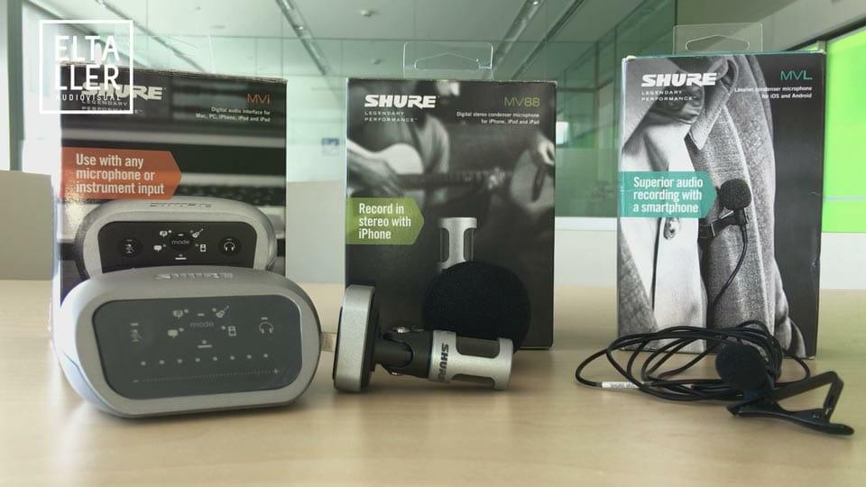SHURE MOTIV MVi, MV88 y MVL - gama de accesorios de audio para usar con móvil o tablet incluso ordenador. Micro de solapa, micrófono de corbata, micro lavalier, micro direccional, micrófono de cañón y adaptador de micros profesionales o mesas de mezclas