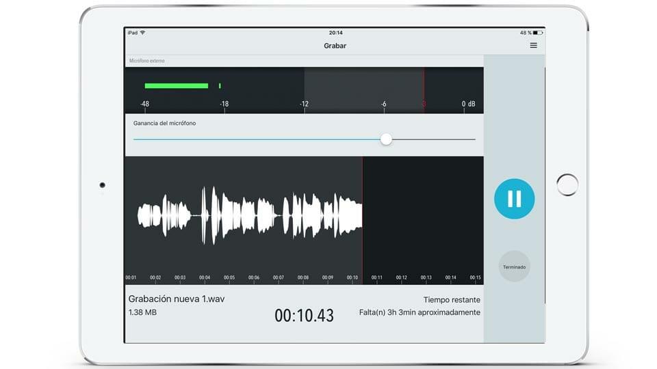 Graba Audio con ShurePlus MOTIV App en iOS