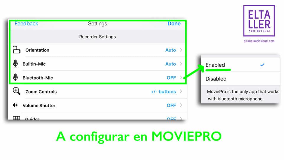 Configura MoviePro para IOS para usar micrófonos inalámbricos y grabar vídeo con micros sin cables