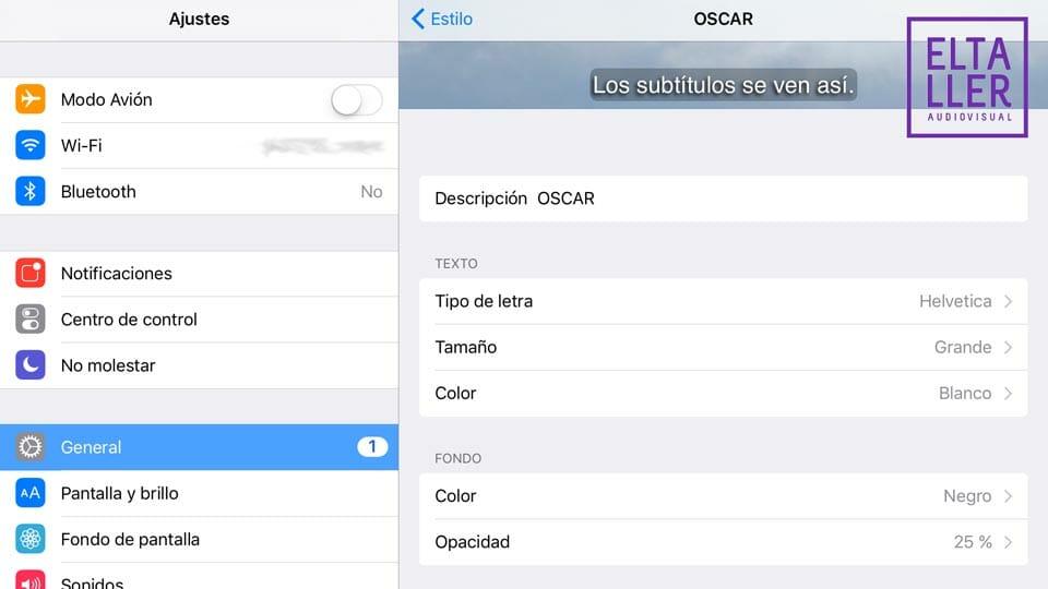 Configura los subtítulos en iPad a través de iOS