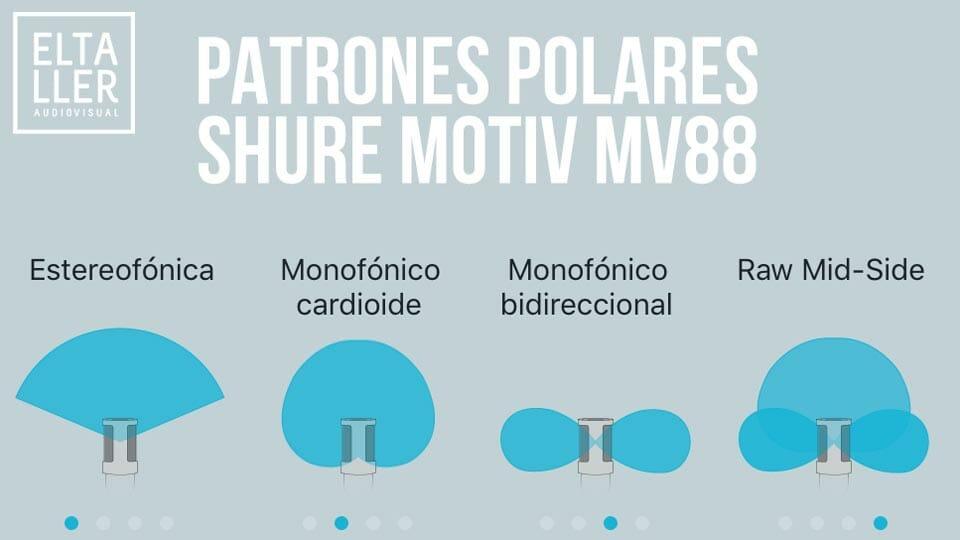Elige el patrón polar que necesites al usar el micro Shure Motiv MV88 en tu iPhone, iPad o iPod Touch con lightning