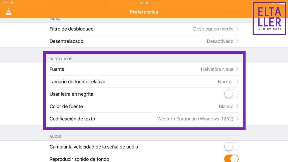 VLC para iOS, configuración de subtítulos