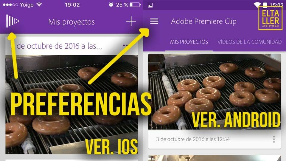 Los iconos de las preferencias en Adobe Premiere clip son diferentes en sus versiones de iOS y de Android