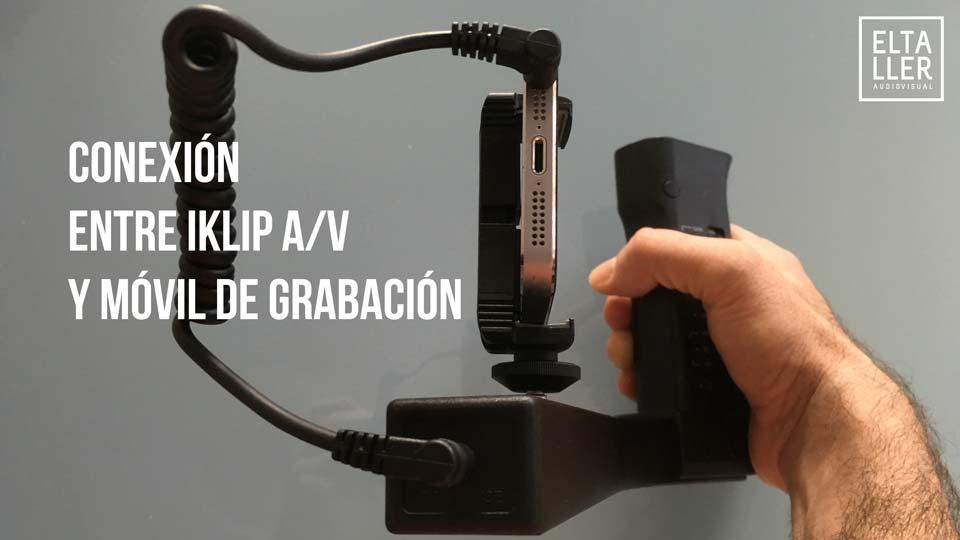 Detalles del iKlip AV cómo se conecta el móvil con la base