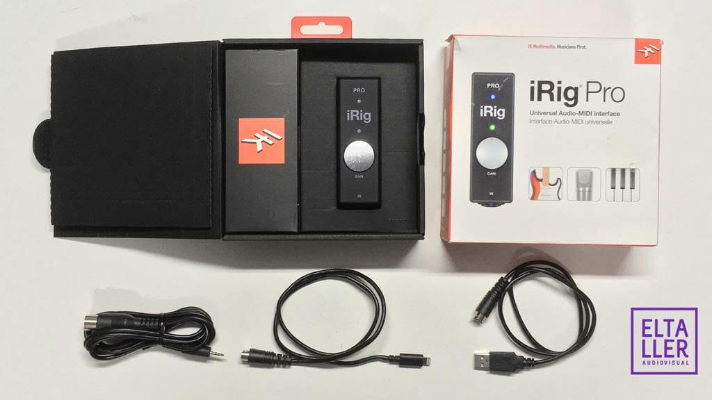 Accesorio sincluidos en la caja de iRigPro, adaptador digital de audio para móviles y celulares
