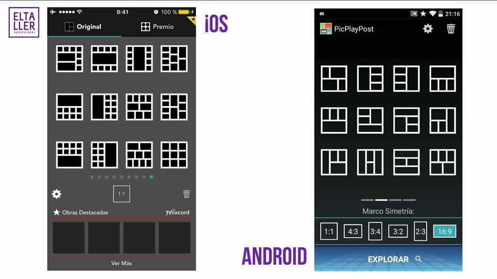 Videocollage fácil, edita vídeos en Android, iOS y en Windows Phone eligiendo muchos marcos para composiciones diferentes.