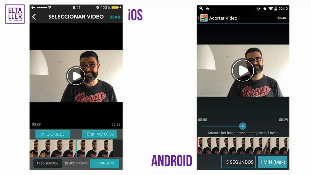 La duración de los vídeos editados en PicPlayPost es de 15 segundos, y los máximos son de 1 minutos en la versión gratis, y en las versiones de pago de 5 minutos en Android y de 10 en iOS
