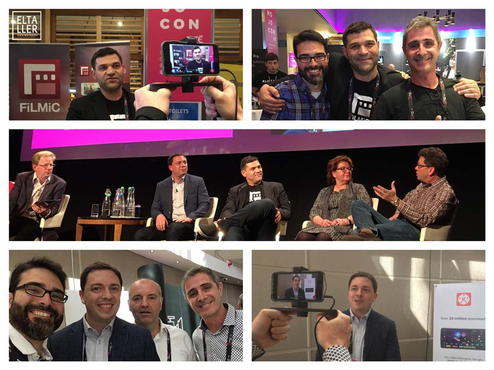 Javier Cabrera y Óscar Oncina con Neill Barham de Filmic y con Matthew Feinberg de Kinemaster