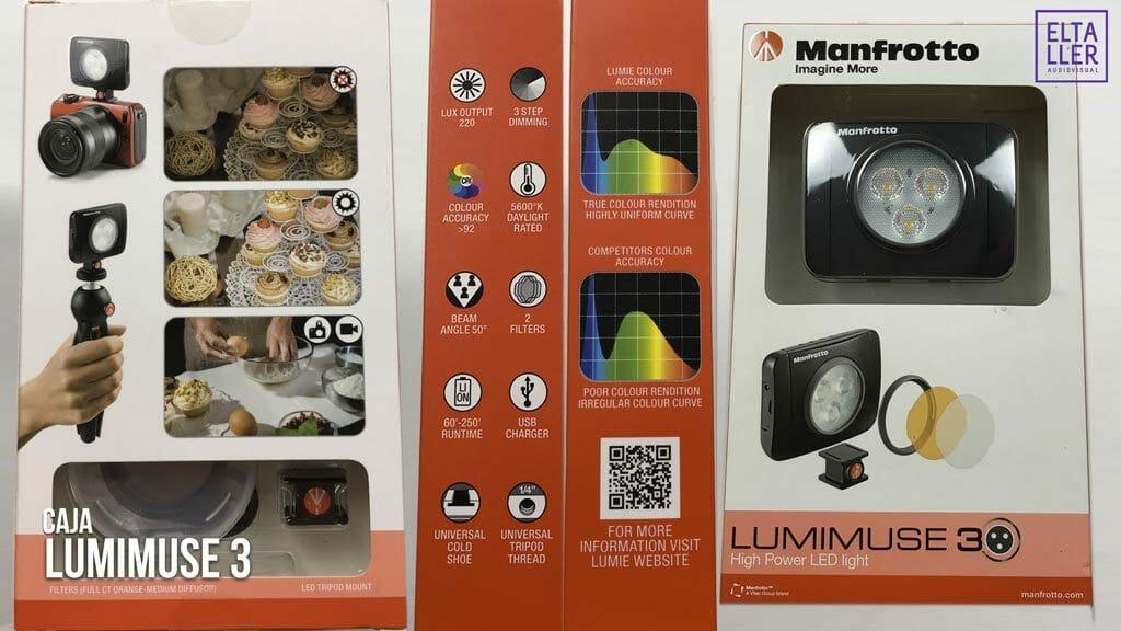 Foto de la caja de nuestro foco led LumiMuse 3 de Manfrotto