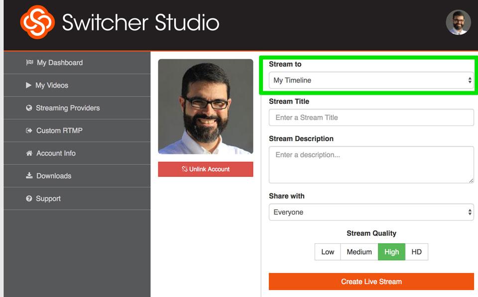 Dashboard de Switcher en la Web